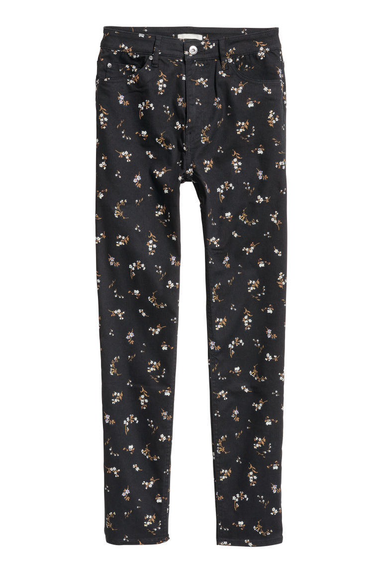 Stretch trousers High waist - Black/Floral - Ladies | H&M CN