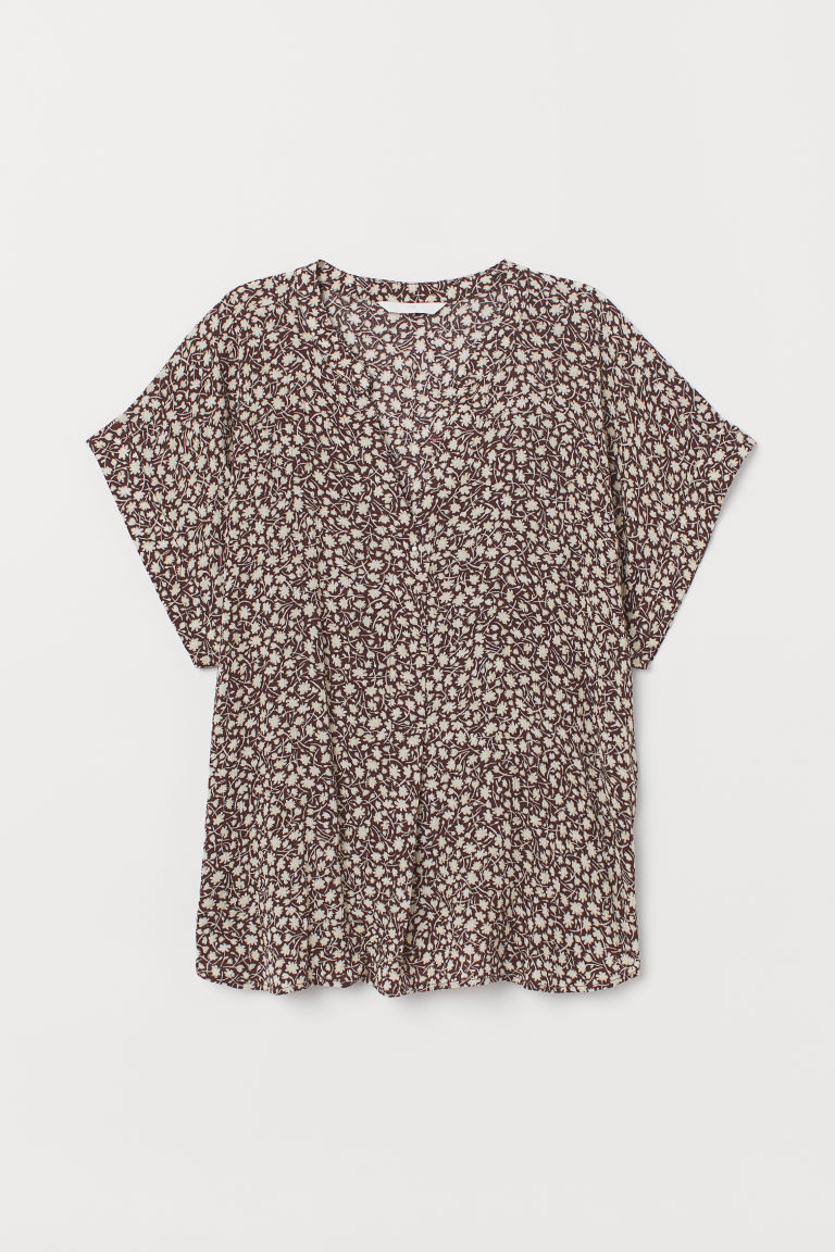 Gecrinkelte Bluse - Braun/Weiss geblümt - Ladies | H&M AT