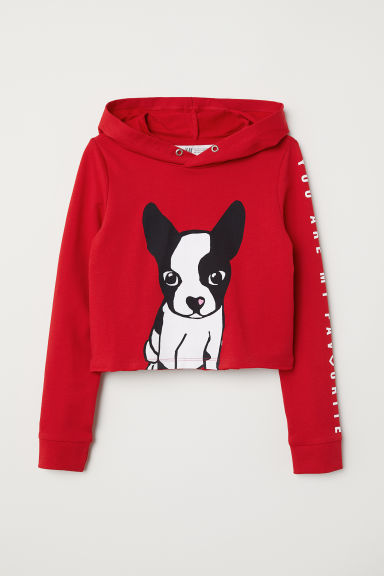 Short hooded top - Red/Dog - Kids | H&M