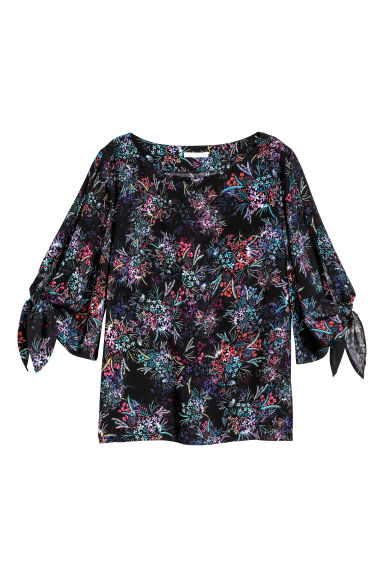 Tie-sleeve blouse - Black/Floral -  | H&M GB