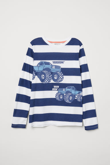 Printed jersey top - White/Cars - Kids | H&M