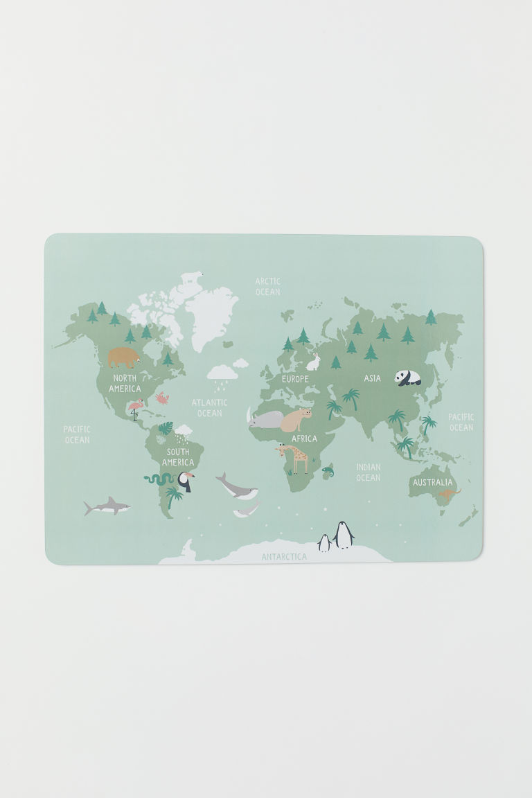 Printed table mat - Light green/Map - Home All | H&M GB