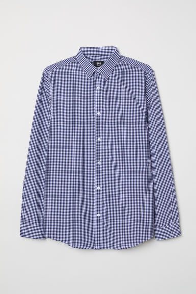 Camicia easy-iron Slim fit - Blu/bianco quadri - UOMO | H&M CH