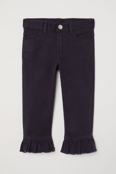 Capri trousers with frills - Dark purple - Kids | H&M