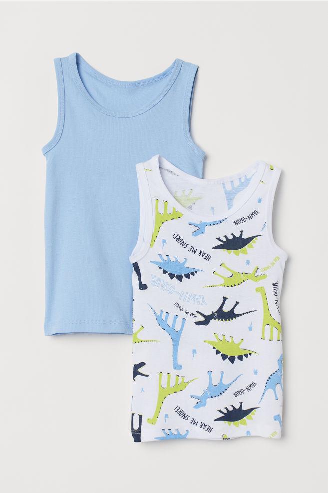 4a40b56618c328 2-pack Tank Tops - White dinosaurs - Kids