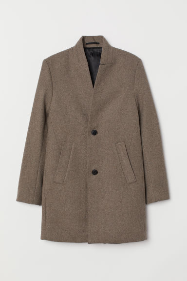 Coat with a stand-up collar - Beige marl - Men | H&M CN