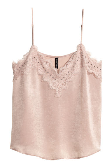 Satin top - Powder pink - Ladies | H&M