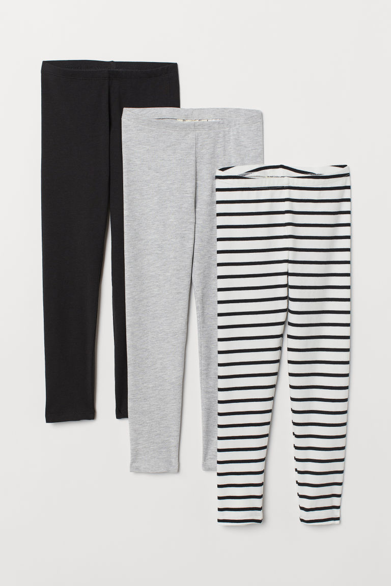 3-pack jersey leggings - Light grey marl/Striped - Kids | H&M GB