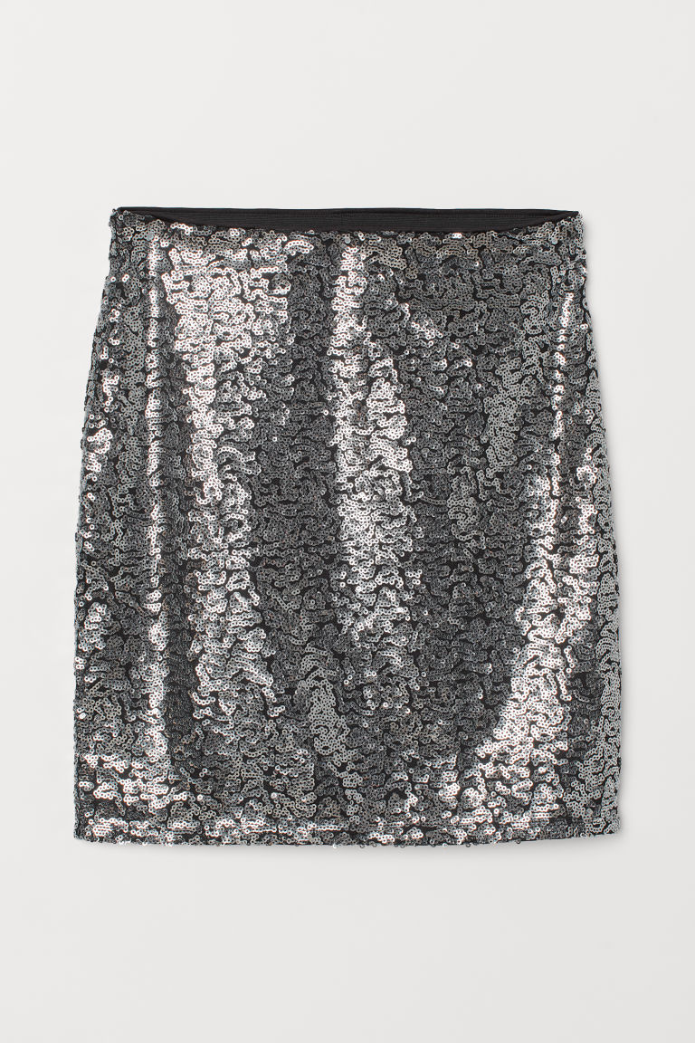 Glittery skirt - Black/Silver-coloured -  | H&M