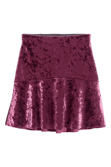 Crushed velvet skirt - Dark purple -  | H&M