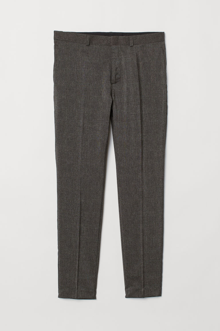 Suit trousers Skinny Fit - Dark grey/Checked - Men | H&M IN