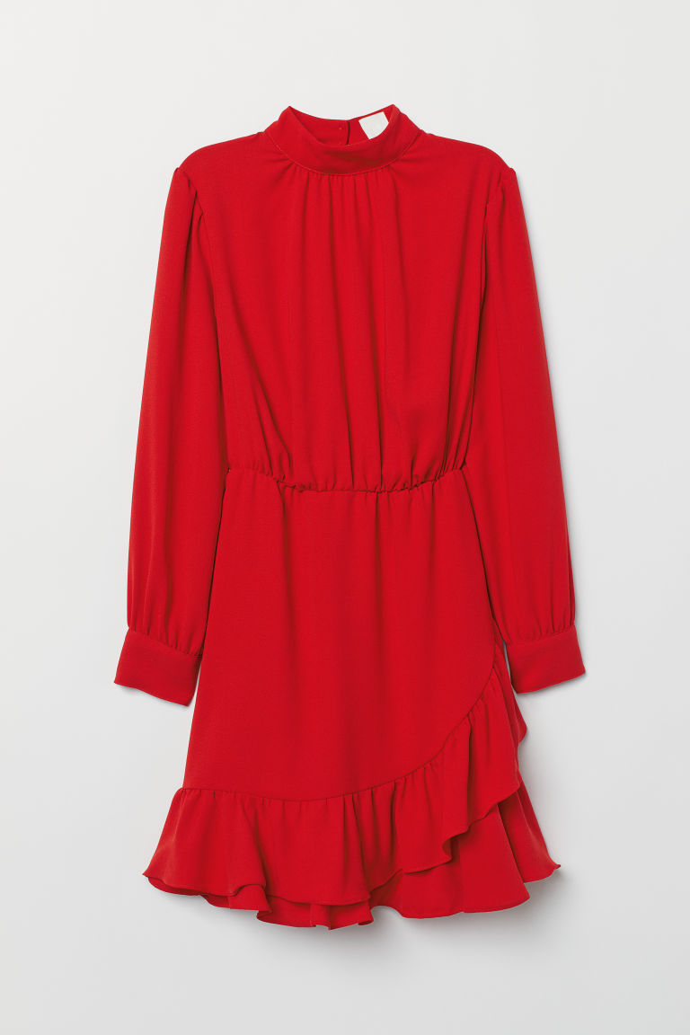 Dress with a stand-up collar - Red -  | H&M CN