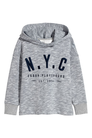 Sweat-shirt à capuche - Gris chiné -  | H&M BE