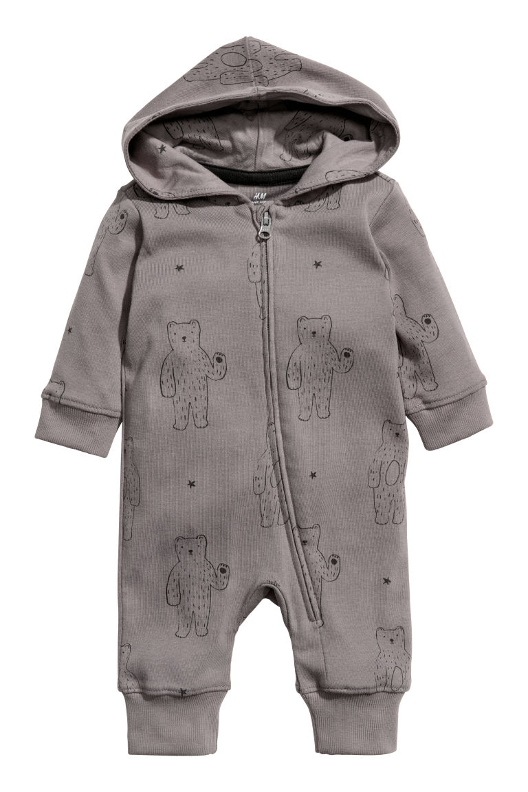 Cotton jersey all-in-one suit - Purple grey/Bears - Kids | H&M CN