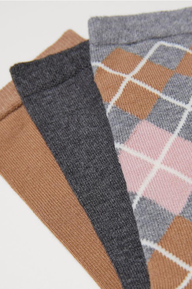 fbc3f614f5b 3-pack socks - Grey Checked - Ladies