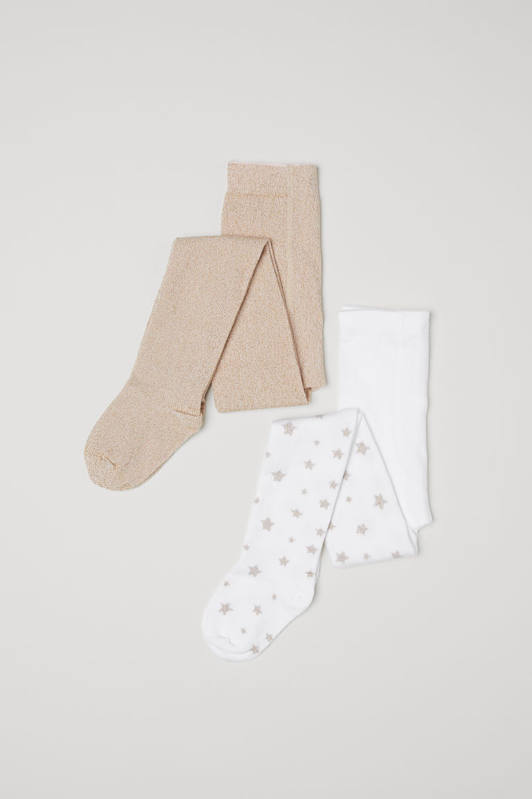 2-pack fine-knit tights - White/Glittery - Kids | H&M