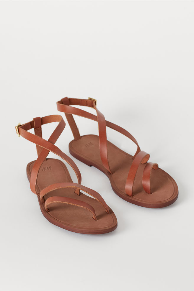 d51cfa6f92785 Strappy Leather Sandals - Brown - Ladies | H&M ...
