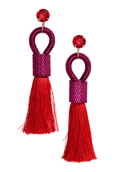 Tasselled earrings - Cerise/Bright red - Ladies | H&M CN