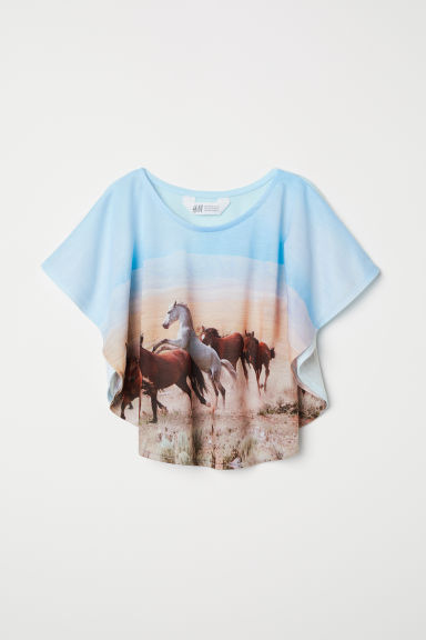 Wide printed top - Light blue -  | H&M CN