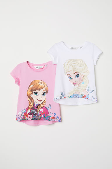 2-pack printed jersey tops - White/Frozen -  | H&M CN