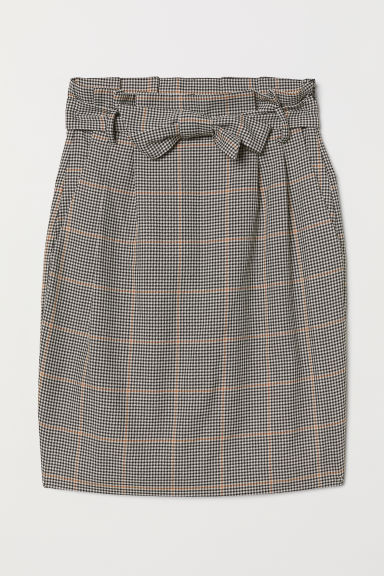 Skirt with tie belt - Beige/Dogtooth-patterned - Ladies | H&M
