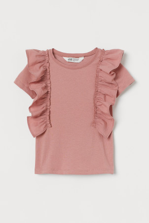 Flounce-trimmed cotton top
