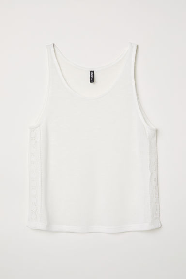 Lace-trimmed Tank Top - White -  | H&M US