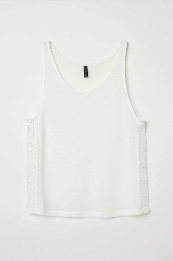 f5dd2a9c3d075f Lace-trimmed Tank Top - White - Ladies