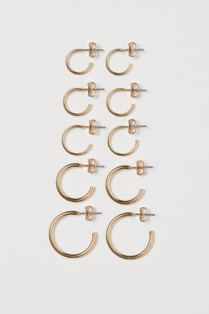 5 pairs hoop earrings