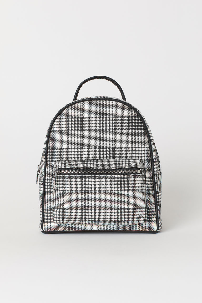 Small backpack - Black/White checked -  | H&M CN