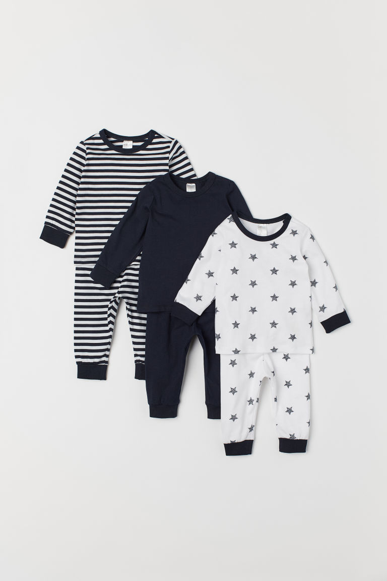3-pack pyjamas - White/Blue striped - Kids | H&M IN