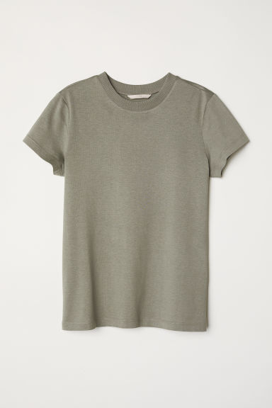 Silk-blend jersey top - Khaki green -  | H&M CN