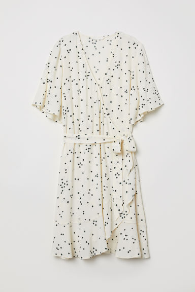 Wrap dress with a flounce - Cream/Spotted - Ladies | H&M CN