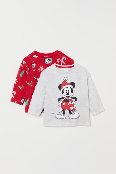 2-pack long-sleeved tops - Red/Mickey Mouse - Kids | H&M