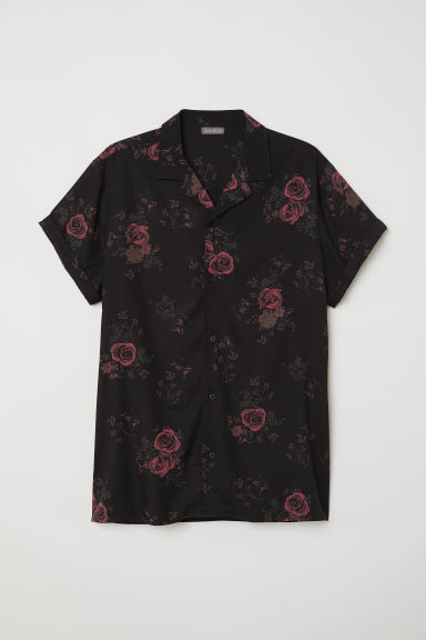 Short-sleeved resort shirt - Black/Roses -  | H&M CN
