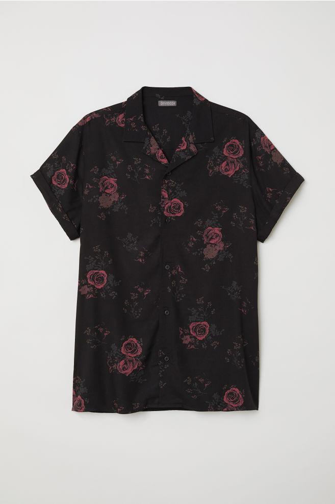 Rövid ujjú resort ing - Fekete rózsás - FÉRFI  20fece9010