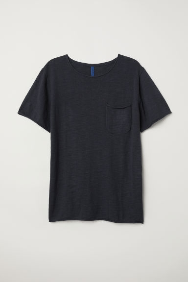 Fine-knit cotton T-shirt - Anthracite grey - Men | H&M