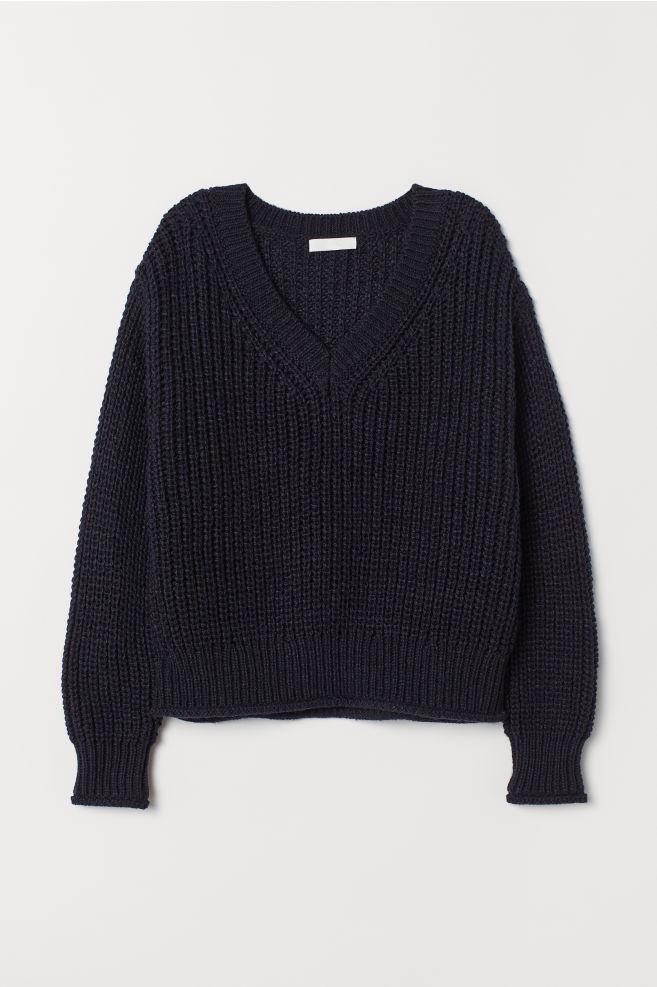 9a9c70f6 Strikket genser - Mørk blå - DAME | H&M ...