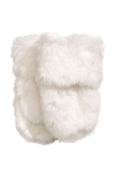Faux fur mittens - White - Kids | H&M CN