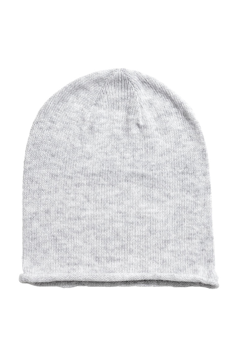 Knitted hat - Light grey marl -  | H&M CN