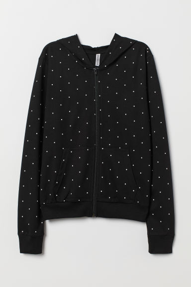 Hooded jacket - Black/Spotted -  | H&M CN