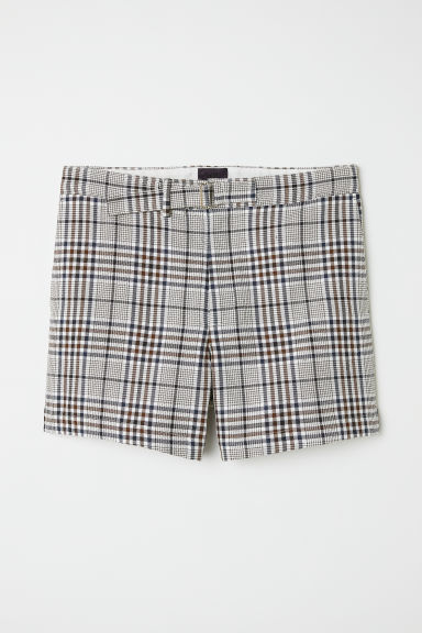 Checked shorts - Beige/Black checked - Men | H&M IN