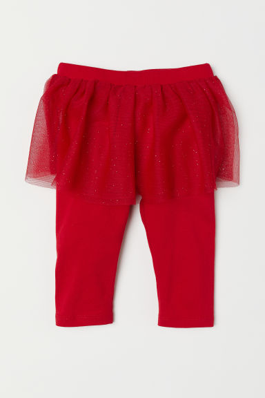 Leggings with a tulle skirt - Red/Glittery - Kids | H&M