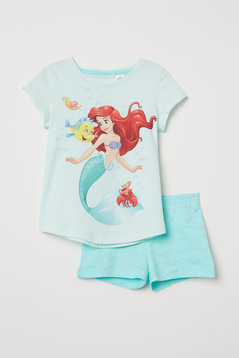 Jersey pyjamas - Turquoise/The Little Mermaid - Kids | H&M