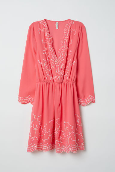 Embroidered dress - Raspberry pink -  | H&M