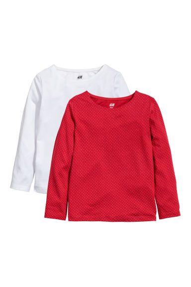 2-pack jersey tops - Red/Spotted - Kids | H&M GB