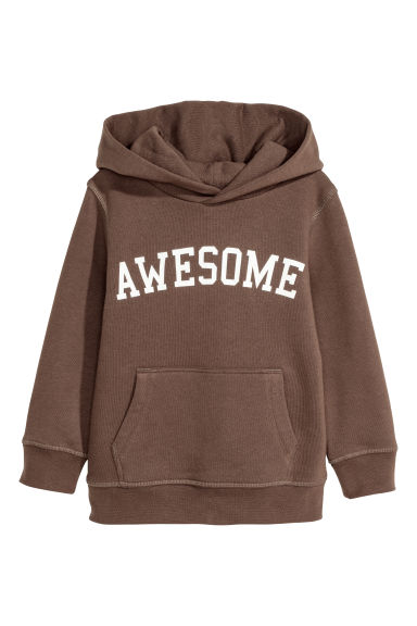 Printed hooded top - Dark brown/Awesome - Kids | H&M CN