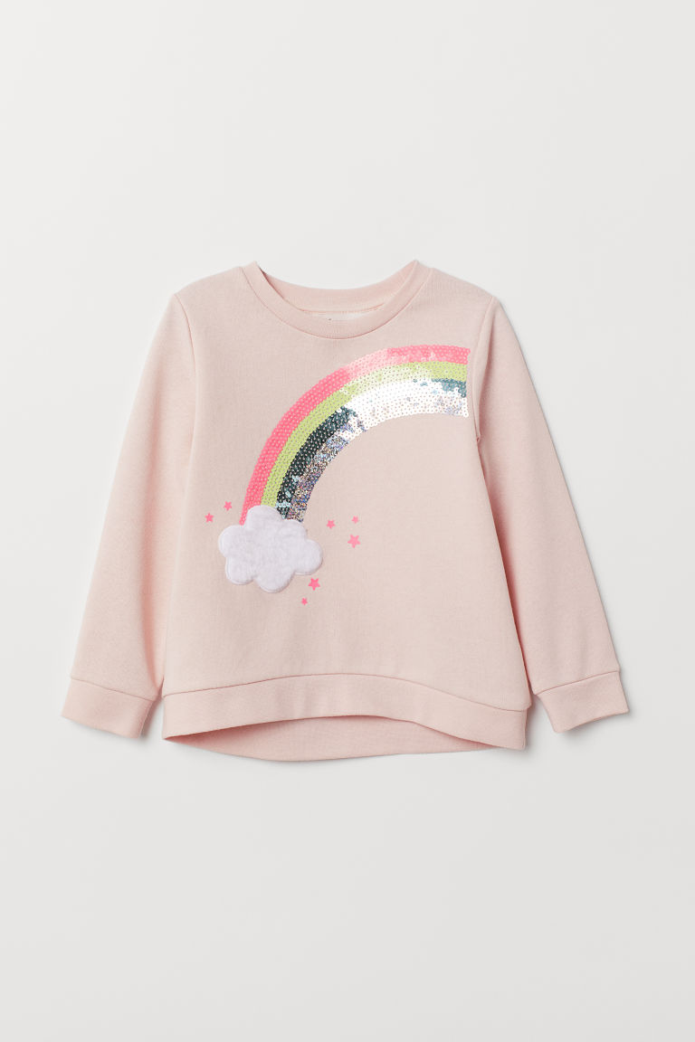 Appliquéd sweatshirt - Light pink/Sequins - Kids | H&M CN