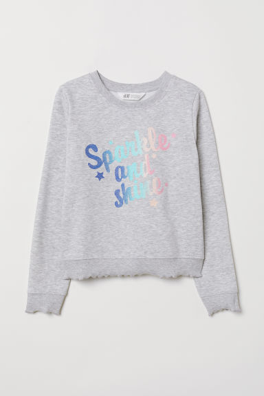 Sweatshirt with a motif - Light grey marl/Sparkle - Kids | H&M