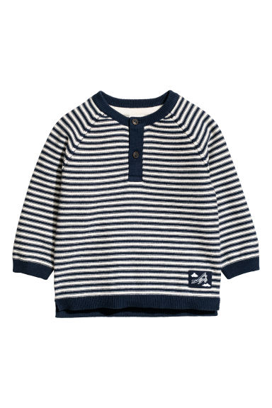 Knitted jumper - White/Blue striped -  | H&M